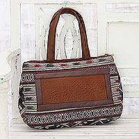 Leather accented cotton handbag, 'Pattern Party' - Ivory, Red, Purple Woven Cotton Leather Accent Handbag