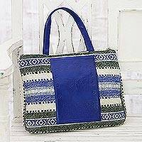Leather accent cotton handbag, 'Alluring Geometry' - Geometric Leather Accent Cotton Handbag from India
