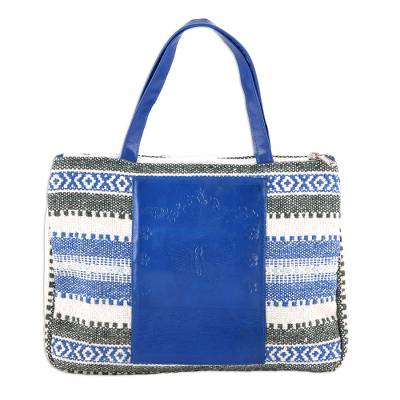 Geometric Leather Accent Cotton Handbag from India