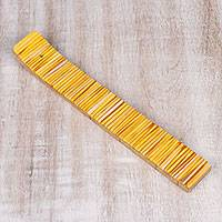 Wood incense holder, 'Sunny Delight' - Sunny Yellow Resin Striped Wood Incense Holder from India