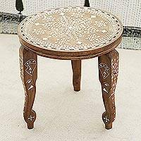 Wood end table, 'Elephant Leaves' (14 in.) - Handcrafted Leaf Motif Wood End Table (14 in.) from India