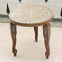 Wood end table, 'Elephant Leaves' (16 in.) - Handcrafted Leaf Motif Wood End Table (16 in.) from India