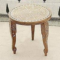 Wood end table, 'Elephant Majesty' (India)