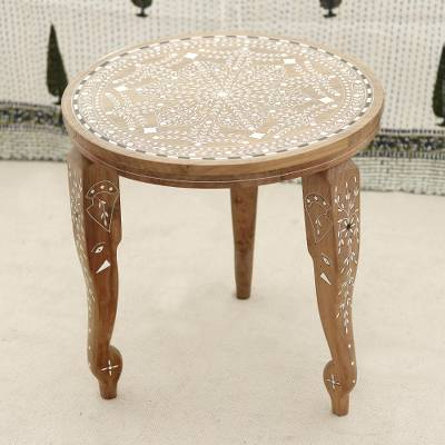 Wood end table, 'Elephant Majesty' - Handmade Jamun Wood End Table with Leaf Motifs from India