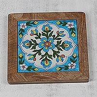 Ceramic trivet, 'Sky Blue Blossom' - Sky Blue Floral Motif Ceramic Trivet from India