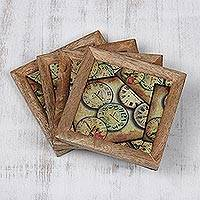 Wood and paper coasters, 'End of Time' (set of 4) - Time-Themed Wood and Paper Coasters (Set of 4) from India