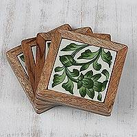 Ceramic and wood coasters, 'Green Floral Dance' (set of 4) - Green Floral Ceramic Coasters (Set of 4) from India