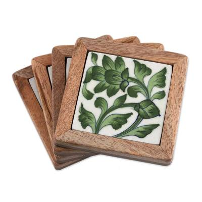 Green Floral Ceramic Coasters (Set of 4) from India