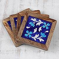 Ceramic and wood coasters, 'Dancing Midnight Blossoms' (set of 4) - Blue Floral Ceramic Coasters (Set of 4) from India