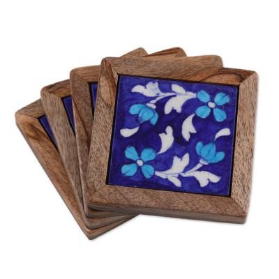 Blue Floral Ceramic Coasters (Set of 4) from India