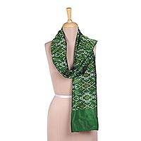 Ikat silk scarf, 'Ikat Party in Emerald' - Handwoven Ikat Silk Scarf in Emerald from India