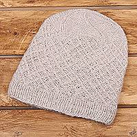 Cashmere hat, 'Ladakh Style' - Cashmere Knit Hat in Oatmeal from India