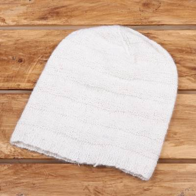 Cashmere hat, 'Ivory Waves' - Knit Cashmere Hat in Ivory from India
