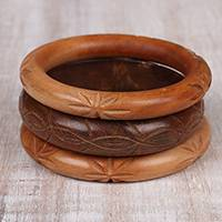 Wood bangle bracelets, 'Triple Charm' (set of 3) - Hand Carved Wood Bangle Bracelet Trio from India (Set of 3)