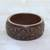 Wood bangle bracelet, 'Connected Garden' - Hand Carved Floral Motif Wood Bangle Bracelet from India thumbail