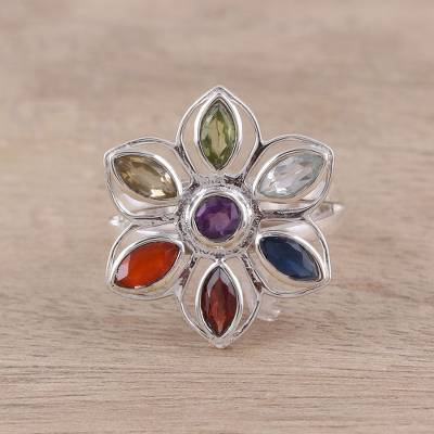 custom rings tulsa - Rainbow Faceted Multi-Gemstone Sterling Silver Cocktail Ring