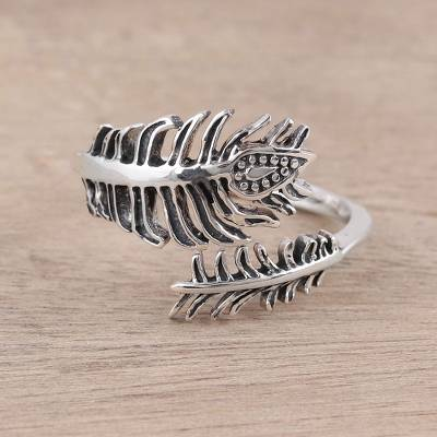 five ruby ring antique uk - Sterling Silver Paisley Feather Leaf Wrap Ring