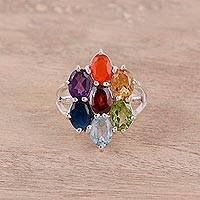 Multi-gemstone stone cocktail ring, 'Rainbow Petals' - Rainbow Faceted Multi-Stone Sterling Silver Ring