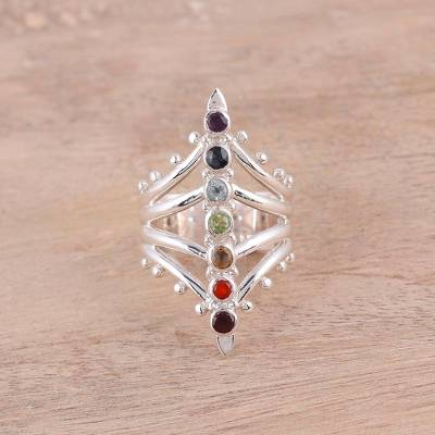 cheap rings boys - Rainbow Chakra Sterling Silver Multi-Gemstone Cocktail Ring