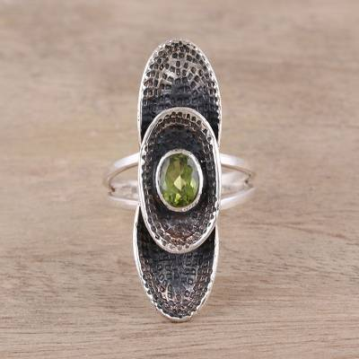 class rings near me - Sterling Silver Oval Faceted Green Peridot Cocktail Ring