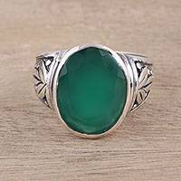 Onyx cocktail ring, 'Verdant Angles' - Leafy Green Onyx Cocktail Ring from India
