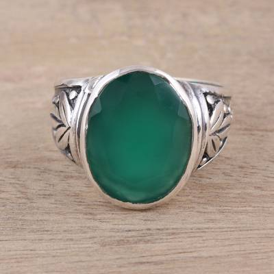 jewelry ring rolls - Leafy Green Onyx Cocktail Ring from India