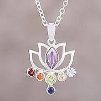 Multi-gemstone chakra pendant necklace, 'Rainbow Lotus' - Multi-Gemstone Sterling Silver Lotus Flower Pendant Necklace