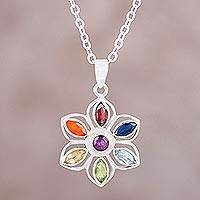 Multi-gemstone pendant necklace, 'Rainbow Daisy' - Multi-Gem Sterling Silver Rainbow Flower Pendant Necklace