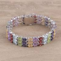 Multi-gemstone wristband bracelet, 'Chakra Rainbow' - Rainbow Faceted Oval Multi-Gemstone Wristband Bracelet