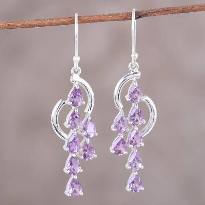 Amethyst dangle earrings, 'Violet Tears' - Handcrafted Amethyst and Sterling Silver Waterfall Earrings