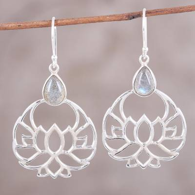 Labradorite dangle earrings, 'Elegant Lotus' - Labradorite and Sterling Silver Lotus Flower Dangle Earrings
