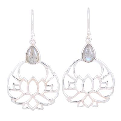 Labradorite and Sterling Silver Lotus Flower Dangle Earrings