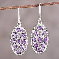 Amethyst dangle earrings, 'Palatial Crest in Violet' - Handcrafted Amethyst and Sterling Silver Dangle Earrings