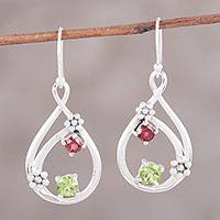 Garnet and peridot dangle earrings, 'Garden Drops' - Sterling Silver Garnet and Peridot Floral Dangle Earrings