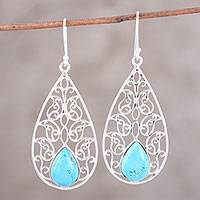 Sterling silver dangle earrings, 'Dancing Drops' - Sterling Silver and Composite Turquoise Dangle Earrings