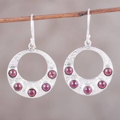 Garnet dangle earrings, 'Gleaming Orbit' - Sterling Silver Gleaming Orbit Garnet Dangle Earrings
