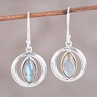 Labradorite dangle earrings, 'Captured Light' - Sterling Silver Labradorite Orb Light Dangle Earrings