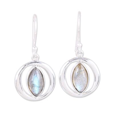 Sterling Silver Labradorite Orb Light Dangle Earrings