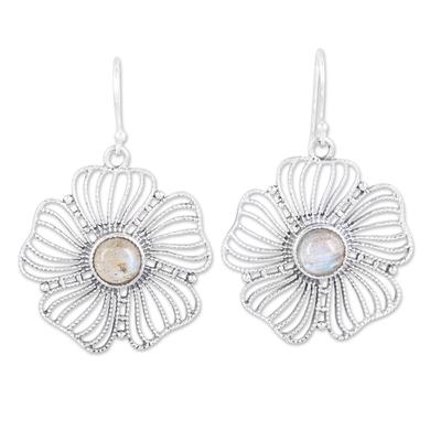 Sterling Silver Labradorite Celestial Floral Dangle Earrings
