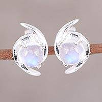 Rainbow moonstone button earrings, 'Awe of Aurora' - Indian Rainbow Moonstone and Sterling Silver Button Earrings