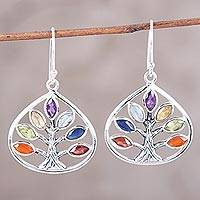 Multi-gemstone dangle earrings, 'Chakra Tree' - Multi-Gemstone Dangle Earrings Handcrafted in India