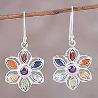 Multi-gemstone dangle earrings, 'Chakra Blossom' - Handcrafted Multi-Gemstone Sterling Silver Dangle Earrings