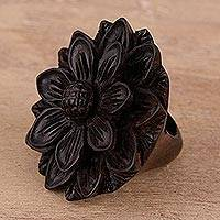 Ebony wood cocktail ring, 'Exotic Sunflower' - Hand-Carved Sunflower Wood Cocktail Ring from India