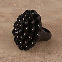 Ebony wood and sterling silver cocktail ring, 'Starry Petals' - Wood and Sterling Silver Floral Cocktail Ring from India