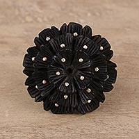 Ebony wood and sterling silver cocktail ring, 'Starry Glory' - Hand-Carved Ebony and Sterling Silver Floral Ring from India