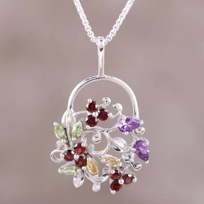 Multi-gemstone pendant necklace, 'Bouquet of Beauty' - Multi-Gemstone Sterling Silver Pendant Necklace from India
