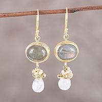 Gold plated multi-gemstone dangle earrings, 'Ethereal Majesty' - 22k Gold Plated Multi-Gemstone Dangle Earrings from India