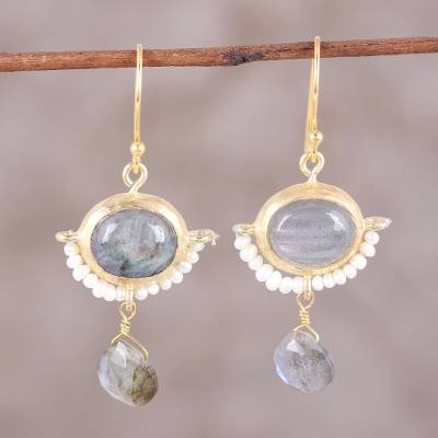 Gold plated cultured pearl and labradorite dangle earrings, 'Everlasting Allure' - 22k Gold Plated Cultured Pearl and Labradorite Earrings