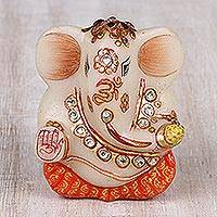 Marble figurine, 'Ganesha of Peace' (3 in.) - Hand-Painted Marble Ganesha Figurine (3 in.) from India