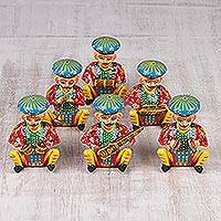 Wood figurines, 'Colorful Musicians' (set of 6) - Hand Carved and Painted Musician Figurines (Set of 6)